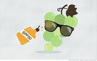 Sunblock for grapes
